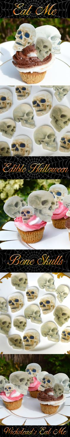 Edible Bone Skulls Perfect additions to add to your Biscuits, Cookies, Cupcakes, Cakes for a spooky Halloween Day of the Dead or Gothic Wedding. Eat Them before they Eat You!! www.WicksteadsEatMe.etsy.com