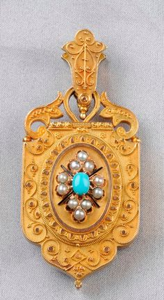 Etruscan Revival 14kt Gold Gem-set Pendant Double Locket, the front with cabochon turquoise and split pearls, reverse with split pearls and black tracery enamel, opening to reveal a compartment, the reverse with additional compartment, applied bead, cylinder, and ropetwist accents, lg. 21.2 dwt.