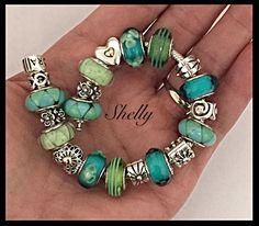 PANDORA. Teal and Green Bracelet. Nice!