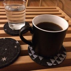 """""""You get a black coffee and you get to work. Sebastian Maniscalco, Batten, Black Coffee, Triangles, Coasters, Stars, Tableware, Dinnerware, Drink Coasters"""