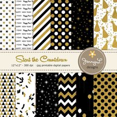 New Year's Eve Digital Papers Black and Gold by JennyLDesignsShop
