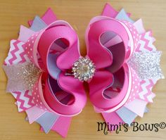 Hey, I found this really awesome Etsy listing at https://www.etsy.com/listing/242093539/pink-gray-boutique-hair-bow