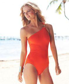 MICHAEL Michael Kors Swimsuit, One-Shoulder Maillot One-Piece - Womens Swimwear - Macy's