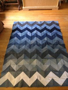 Chevron jean blanket! Upcycled denim!