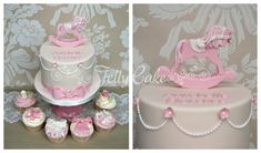 love the rocking chair topper on this baby shower cake!