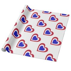 Netherlands/Dutch Flag-inspired Hearts Wrapping Paper - craft supplies diy custom design supply special