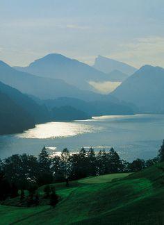Lake Fuschlsee near Salzburg, Austria Salzburg Austria, Beautiful Places, Wanderlust, Around The Worlds, Explore, Adventure, Mountains, Beautiful Landscapes, Nature