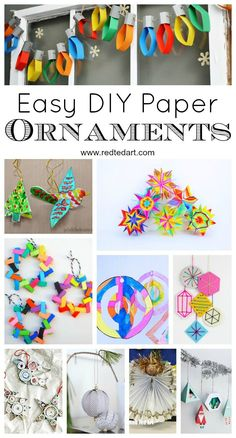 Red Ted Art's Paper Christmas Ornament DIY Ideas - How to make Christmas Ornaments from Paper - bright and colourful and oh so fun! #Christmas #paper #ornaments #kids