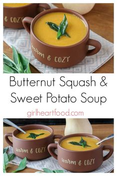 Ultra creamy, warming and comforting this Butternut Squash & Sweet Potato Soup Recipe is sure to be a favourite this fall. It has warming spices like cinnamon, nutmeg and smoked paprika and a touch of sweetness from maple syrup. Chowder Recipes, Easy Soup Recipes, Recipes Dinner, Potato Recipes, Casserole Recipes, Pasta Recipes, Crockpot Recipes, Breakfast Recipes, Chicken Recipes