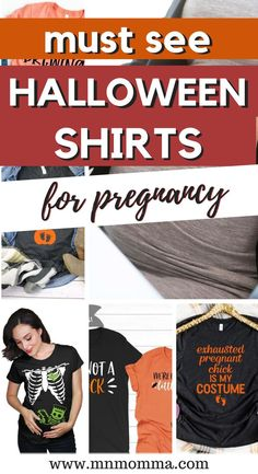 Halloween T-shirts for Pregnant Women. If you've been looking for a great way to dress up for Halloween - these maternity shirts are perfect! Whether it's for couples or just for an expecting mom herself, you'll love these festive Halloween and fall tshirts. If you're looking for a pregnancy Halloween costume - these also make for great, easy costume ideas! And the best part? They're super comfortable! #pregnancy #halloween #maternityshirt #costumeideas Diy Halloween Shirts, Halloween Pregnancy Shirt, Cute Halloween, Pregnant Couple Halloween Costumes, Family Costumes, Maternity Shirts, Pregnancy Shirts, Easy Costumes, Costume Ideas