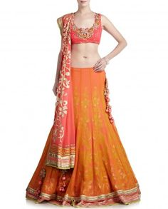 Orange and Pink Lengha with Patch Work SATYA PAUL