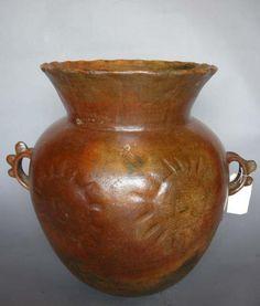 #1-280 Antique ceramic florero – Guatemala24Dx24H
