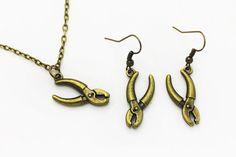 Pliers Dangling Earrings Tool Necklace by boysenberryaccessory