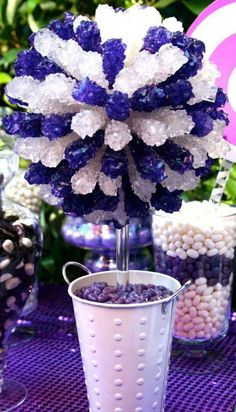 black white silver royal blue wedding | Purple White Silver Rock Candy Centerpiece Topiary Tree, Candy Buffet ...