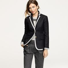 JCrew Hacking Jacket in Tipped Double-Serge Wool - Black. I once was obsessed with this in gray but man, this black is desTROYing me.