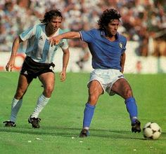 Italy 2 Argentina 1 in 1982 in Barcelona. Bruno Conti shields the ball from Daniel Bertoni in Round 2, Group C at the World Cup Finals.