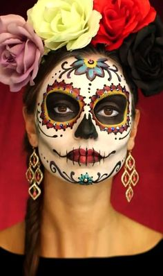day of the dead face painter los angeles - COSTUMES - Halloween Halloween Makeup Sugar Skull, Cool Halloween Makeup, Halloween Costumes, Sugar Skull Costume, Face Paint For Halloween, Candy Skull Makeup, Sugar Skull Makeup Tutorial, Halloween Zombie, Halloween Night