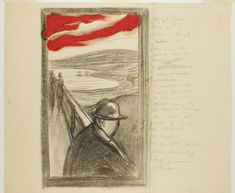 """The Sky suddenly / turned blood-red / I paused, leaned / against the fence tired / to death""  Edvard Munch's writings // MM T 2367"