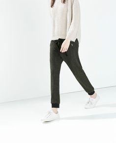 ZARA Woman BNWT Olive Green Cotton Zip Waist Sweatpants Casual Trousers 7251/241