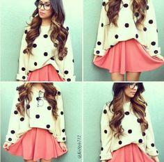 Nice big sweater,pink skirt,nerd glasses