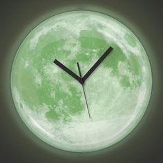 3ab7ad0e4 Moonlight Clock ساعة حائط القمر تضئ على شكل بدر كامل بشكل خلاب ساعة ضوء  القمر،