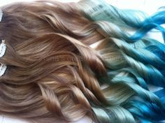 """Mermaid Hair,  Ombre Hair Extensions, Dark Blonde Ombre Hair, Pastel Blue faded into Ocean Blue, 7 Pieces,22""""/Customize your Base"""
