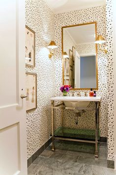 Wallpaper Ideas | Powder Bathroom | Gold Mirror | Leopard Print | Cheetah Pattern | Home Decor | Interior Design