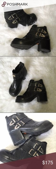 Harley Davidson chunky boots Harley Davidson chunky platform combat/moto boots with double buckles and metal engraved logo on the front. Perfect accessory for that grungy fall look! Harley-Davidson Shoes Combat & Moto Boots