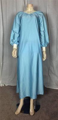 $4 Vintage Retro 1960's lace crochet Victorian collar light blue maxi dress