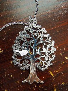 Family Tree Charm Necklace, Tree of Life, Silver Family Tree, Silver Tree of Life, Grandma Necklace, Mom Jewelry, Mom Necklace, Bird Charm by ClothingBucketStore on Etsy