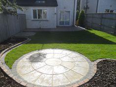 Circular Patio,Raised Patio Garden Design, Roschoill ,Drogheda co. Circular Garden Design, Circular Patio, Small Garden Design, Paving Stone Patio, Patio Slabs, Patio Flooring, Garden Slabs, Garden Paving, Concrete Patio Designs