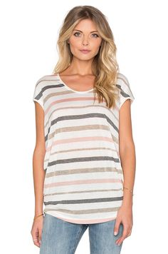 Splendid Mojave Shine Stripe Tee in Soft White