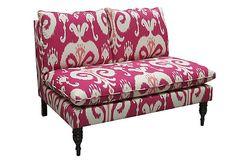 Fabric idea for dining room chairs -  Ella Settee, Raspberry #Ikat on OneKingsLane.com.