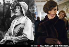 Lili Elbe (left) and Eddie Redmayne (right) as Elbe in The Danish Girl movie. Read 'The Danish Girl: History vs. Hollywood' - http://www.historyvshollywood.com/reelfaces/danish-girl/