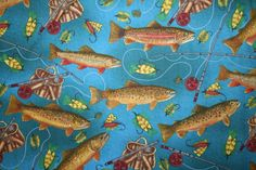 Quilting fabric in the Sport Fishing line by Debbie Field of Granola Girl ...fabricquiltscissors.net