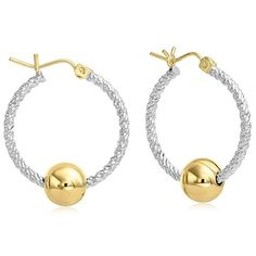 Amazon.com: Premium Ocean Side 14k Gold and Twisted Sterling Silver Earrings, Gold Post and Hinge - Medium: Jewelry