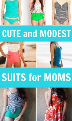 Looking for a modest but still super cute bathing suit? Here are some one piece, tankini, and skirt swimsuits that are perfect for when you don't want to wear a bikini! Great for modest moms who still want cute swimwear.