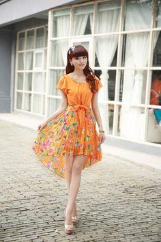 Elegant Lotus Leaf Sleeve Floral Chiffon Dress