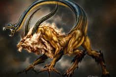 Chimera is a Greek mythology creature that comprise a lion, a goat and a snake. Similar to Cerberus, Chimera parents were Typhon and Echidna. In the literature, Chimera is often depicted as a female creature, that is capable of breathing fire.