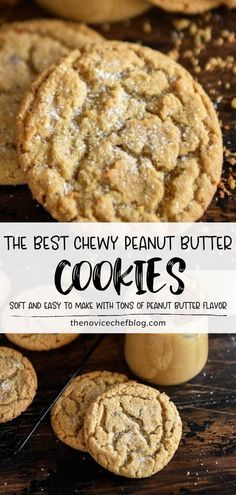 Learn how to make The Best Chewy Peanut Butter Cookies! You don't need any special ingredients or fancy preparation for this quick and easy recipe. With super soft chewy centers and tons of peanut butter flavor, this dessert will become a back to school favorite! Easy No Bake Desserts, Easy Cookie Recipes, Delicious Desserts, Easy Baking Recipes, Yummy Recipes, Dinner Recipes, Cooking Recipes, Quick Peanut Butter Cookies, Peanut Butter Recipes