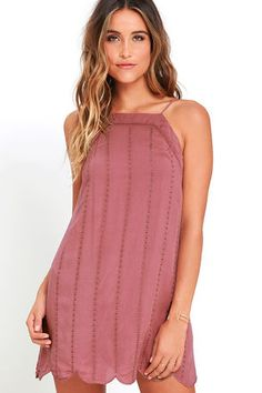 Country Road Mauve Embroidered Dress!