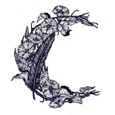 PONY GOLD / MOON / ILLUSTRATION / DRAWING / SHRINE / VINES / MORNING GLORY / FLOWERS Flower Tattoo Hand, Flower Tattoo Designs, Hand Tattoos, Sleeve Tattoos, Tatoos, Morning Glory Tattoo, Morning Glory Flowers, Moon Illustration, Tattoo Outline