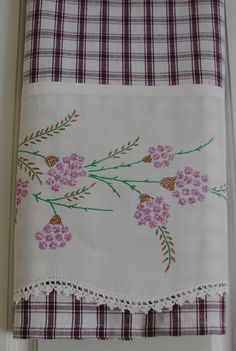 Recycled and Repourposed Vintage Pillowcase to Upcycled Tea Towel - Wild Flowers - Homespun Home Decor