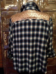 Sequin Flannel Shirt Plaid meets Glam Boho Hipster by oCharley