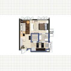 Public housing 2 Room Apartment in Singapore. 47sqm interior space