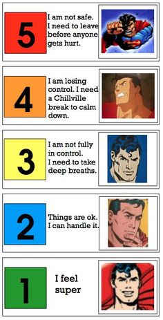 A Self-Control Meter that's totally awesome! I think little boys would love using Super Man to describe how they are feeling! Super Behaviors Deserve Super Visuals-several visuals for kids with behavioral challenges. From If Only I Had Super Powers. Pinned by SOS Inc. Resources @sostherapy.