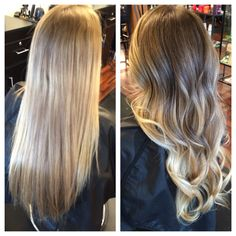 Beautiful natural to blonde balayage. Before and After.