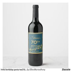 birthday party teal blue green gold music wine label - Make your wine bottle a reflection of yourself! Wine Label Art, Wine Label Design, Teal Blue, Blue Green, Purple Wine, Color Blue, 70th Birthday Parties, Birthday Diy, Birthday Gifts