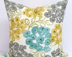 TEAL.GRAY.Yellow.PILLOW.16x16 by ElemenOPillows on Etsy