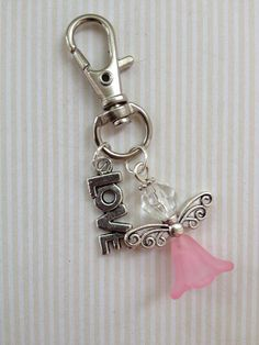 Beaded Bag Charm/keychain- Pink angel Love the little angel.